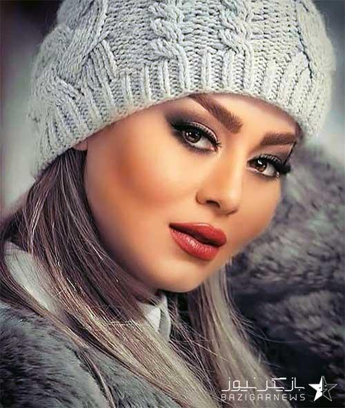 سحر قریشی با کلاه زمستانی
