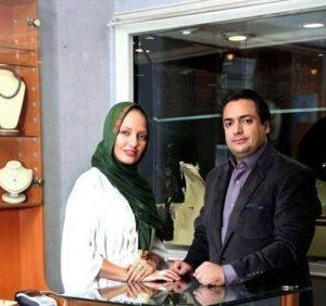 مهناز افشار در گالری طلای برادرش با لباس سفید و سبز