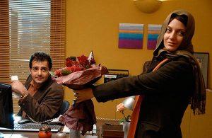 مهناز افشار با یک دسته گل در دستش و حامد کمیلی در فیلم پسر آدم ، دختر حوا