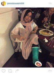 پرستو صالحی با پای شکسته در رستوران