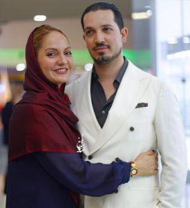 مهناز افشار با روسری زرشکی و مانتو آبی در کنار همرش یاسین رامین