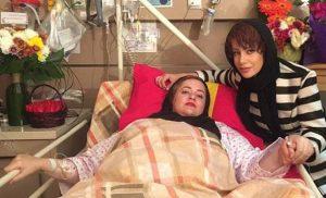 نعیمه نظام دوست روی تخت بیمارستان و شراره رخام