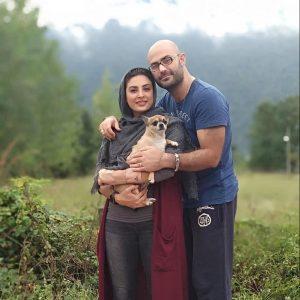 حدیثه تهرانی و همسرش کیان مقدم به همراه سگشان