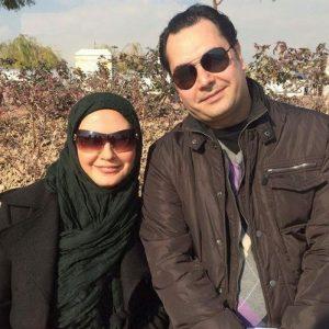 عکس با حجاب لعیا زنگنه در کنار همسرش