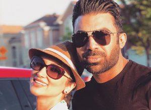 روناک یونسی و همسرش محسن میری با لباس مشکی