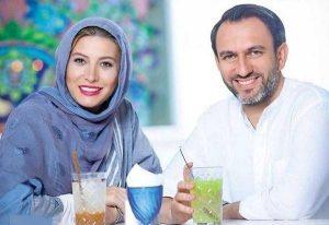 فریبا نادری در کنار همسرش در یک رستوران