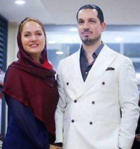 مهناز افشار با شال زرشکی و همسر سابقش یاسین رامین با کت سفید