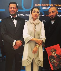 ساره بیات با مانتوی سفید و تیپ رسمی نوید محمدزاده و پژمان بازغی در جشنواره فیلم کن2015