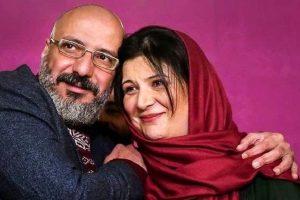 ریما رامین فر با شال قرمز رنگ در آغوش همسرش امیر جعفری