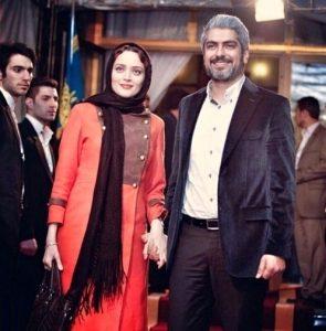 دست بهنوش طباطبایی با لباس گلبهی در دست مهدی پاکدل با کت مخمل