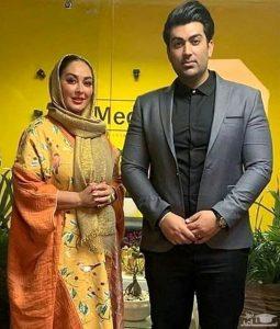 تیپ نارنجی الهام حمیدی و همسرش با کت طوسی