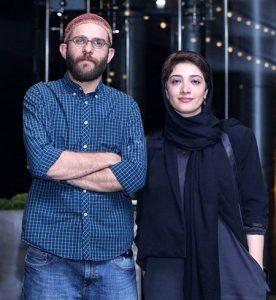 تیپ مشکی مینا ساداتی در کنار بابک حمیدیان با تیپ آبی رنگ