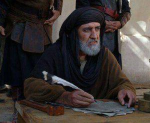 احمد علامه در نقش عبدالرحمن بن شریح یار مختار ثقفی در حال نوشتن