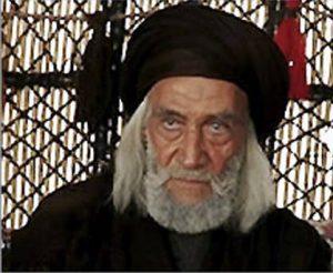 فاضل اجبوری در نقش ابوذاکر با لباسی مشکی و گریم مختارنامه