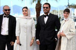 ساره بیات نوید محمدزاده و پژمان بازغی در جشنواره فیلم کن2015