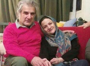 گلاب آدینه در آغوش همسرش مهدی هاشمی با لباس سرخابی