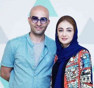 ویدا جوان با مانتوی خاص خود و شال آبی در کنار همسرش آیلا تهرانی با تیپ آبی