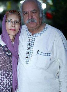 فهیمه رحیمنیا با شال بنفش در کنار همسرش بهزاد فراهانی با لباس سفید