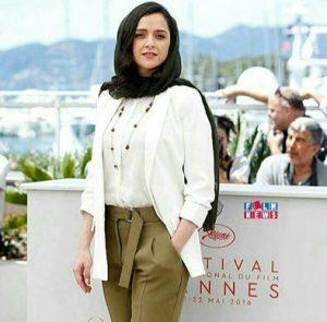 تیپ رسمی ترانه علیدوستی با کت سفید و شلوار سبز در جشنواره کن 2016