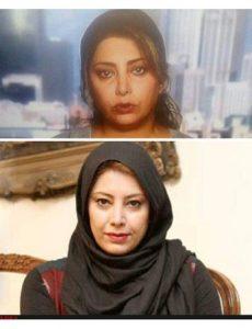 عکس بی حجاب لادن طباطبایی در شبکه ی منوتو و عکس با حجابش با تیپ مشکی