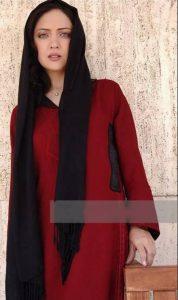 لباس زرشکی نیکی کریمی و شال مشکی او در جشنواره فیلم کن