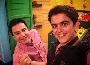 امیرمحمد متقیان به همراه عمو پورنگ در پشت صحنه ی محلهی گل و بلبل