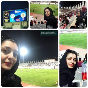 حضور ساره بیات در استادیوم ابوظبی در حال تماشای بازی پرسپولیس