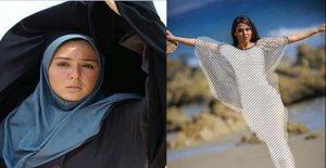 عکس بی حجاب حنانه شهشهانی و عکس وی با چادر و مقنعه آبی