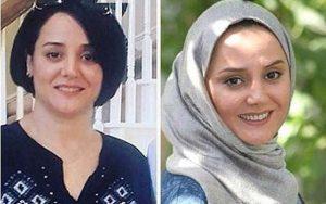 عکس بی حجاب مینا لاکانی و عکس با حجابش با شال طوسی
