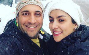 سلفی مارال بنی آدم و همسرش علي سرابي در یک روز برفی