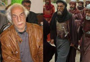 میر صلاح حسینی در نقش عمرو بن حجاج زبیدی قبل گریم با کت چرم و بعد گریم