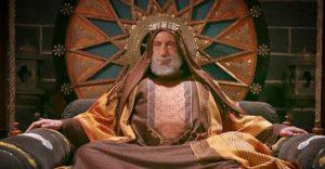 استاد رضا کیانیان در نقش عبدالله بن زبیر نشسته بر تخت