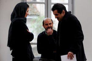 لیلا حاتمی و علی مصفا در پشت صحنه ی فیلم در دنیای تو ساعت چند است