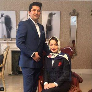 عکس آتلیه ای شیلا خداداد با تیپ مشکی و همسرش فرزین سرکارات با کت و شلوار
