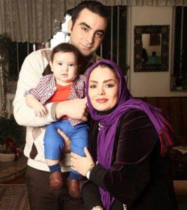 سپیده خداوردی با شال بنفش در کنار همسرش امین نظری و فرزندش