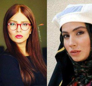 عکس بی حجاب بهارک صالح نیا با عینک قرمز و عکس با حجابش با چادر در صحنه ای از فیلم