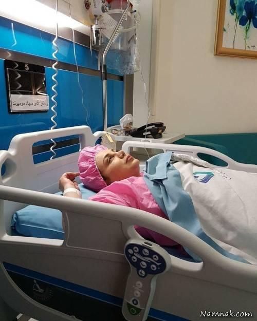بهنوش بختیاری با لباس اتاق عمل روی تخت بیمارستان