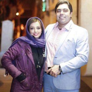 نفیسه روشن با کاپشن بنفش در کنار همسرش