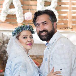 بهاره رهنما و همسرش در روز عروسیشان با لباس سفید