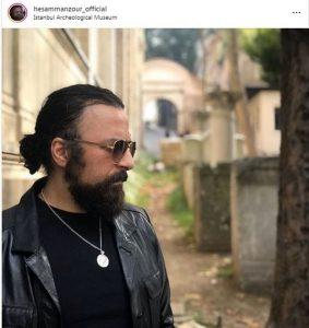 عکس حسام منظور در استانبول با کت چرم و موهای بلند