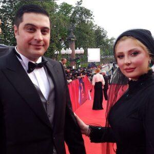تیپ مشکی نیوشا ضیغمی و همسرش در جشنواره ی فیلم