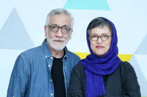 تیپ مشکی و آبی مسعود رایگان و همسرش رویا تیموریان