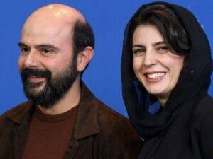 علی مصفا با کت و تیشرت قهوه ای و همسرش لیلا حاتمی