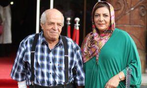 محسن قاضی مرادی با پیراهن چهارخونه و همسرش مهوش وقاری