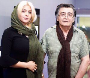 رضا رویگری با تیشرت چهارخونه و شال گردن و همسرش تارا کریمی همسر جوانش
