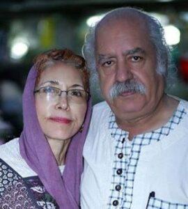بهزاد فراهانی با پیرهن سفید و همسرش فهیمه رحیمنیا