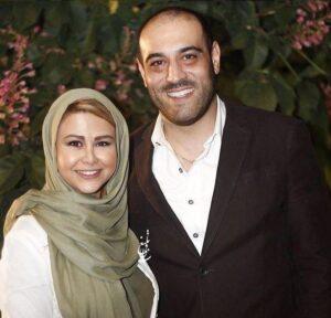 امیریل ارجمند با کت مشکی وپیراهن سفید و همسرش یاسمینا باهر