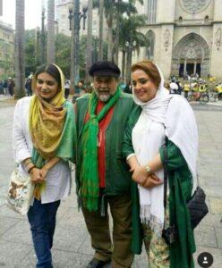 عکس نرگس محمدی و لیندا کیانی با تیپ سفید سبز در خارج از کشور