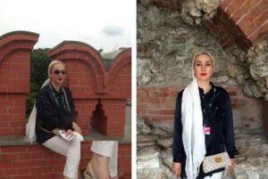 تصاویری از آنا نعمتی با مانتو مشکی و شال سفید در چین