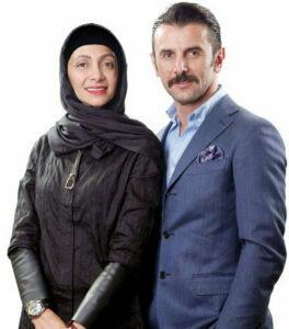 تیپ رسمی امین حیایی با کت وپیراهن آبی در کنار همسرش